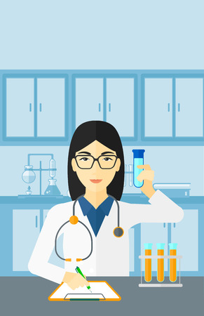 holding notes: An asian woman taking some notes and holding a test tube on the background of laboratory vector flat design illustration. Vertical layout. Illustration