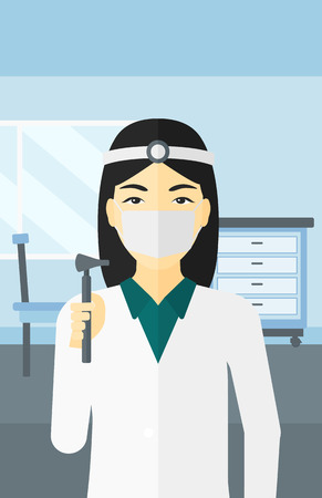 An asian doctor otolaryngologist on the background of medical office vector flat design illustration. Vertical layout.