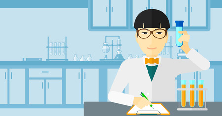 holding notes: An asian man taking some notes and holding a test tube on the background of laboratory vector flat design illustration. Horizontal layout.