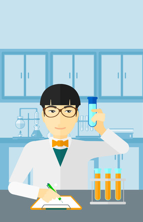 holding notes: An asian man taking some notes and holding a test tube on the background of laboratory vector flat design illustration. Vertical layout. Illustration
