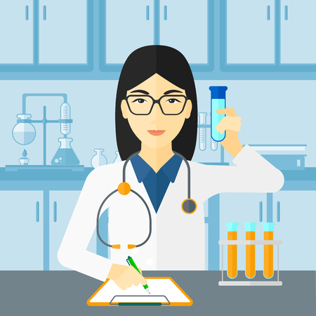 taking notes: An asian woman taking some notes and holding a test tube on the background of laboratory vector flat design illustration. Square layout. Illustration