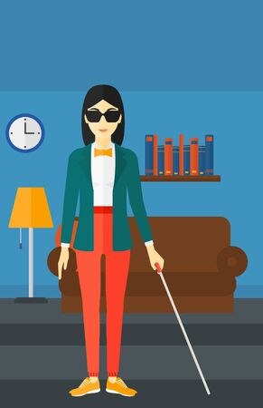 poor eyesight: An asian blind woman in dark glasses standing with walking stick on the background of furnished room vector flat design illustration. Vertical layout.