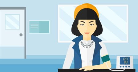 blood tests: An asian woman with blood pressure measuring device on the background of medical office vector flat design illustration. Horizontal layout.