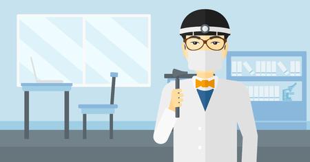 otolaryngologist: An asian doctor otolaryngologist on the background of medical office vector flat design illustration. Horizontal layout.
