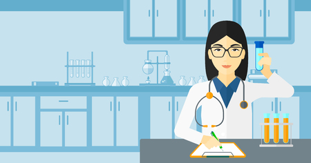 taking notes: An asian woman taking some notes and holding a test tube on the background of laboratory vector flat design illustration. Horizontal layout. Illustration