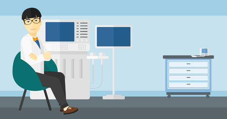 specialist: An asian male ultrasound specialist with ultrasonic equipment in hospital vector flat design illustration. Horizontal layout.