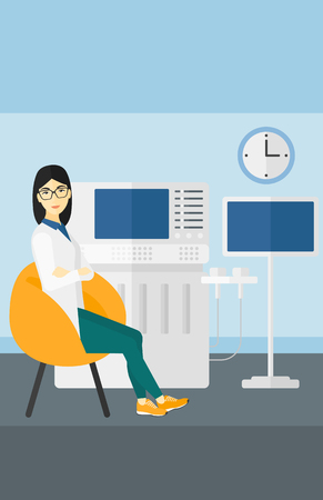 ultrasound: An asian female ultrasound specialist with ultrasonic equipment in hospital vector flat design illustration. Vertical layout.