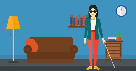 An asian blind woman in dark glasses standing with walking stick on the background of furnished room vector flat design illustration. Horizontal layout.