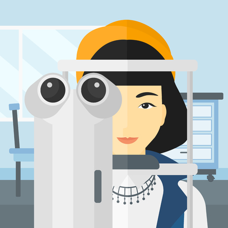 An asian woman during eye examon the background of medical office vector flat design illustration. Square layout.