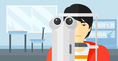 eye exam: An asian man during eye exam on the background of medical office vector flat design illustration. Horizontal layout. Illustration