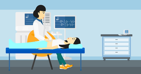 An asian doctor with ultrasonic equipment during ultrasound medical examination of a woman vector flat design illustration. Horizontal layout.