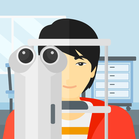 An asian man during eye exam on the background of medical office vector flat design illustration. Square layout.