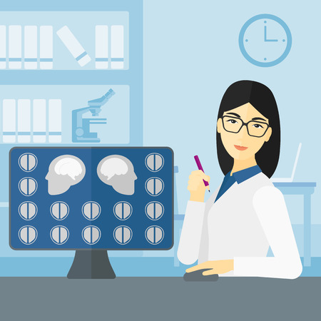 a lady doctor: An asian doctor looking at results of MRI scan on a computer screen on the background of medical office vector flat design illustration. Square layout. Illustration