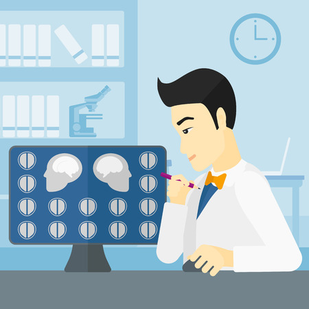 medical scan: An asian doctor looking at results of MRI scan on a computer screen on the background of medical office vector flat design illustration. Square layout. Illustration