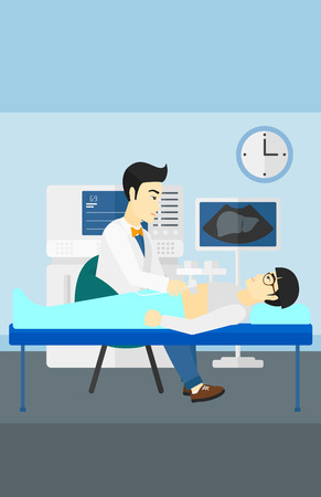 ultrasound: An asian doctor with ultrasonic equipment during ultrasound medical examination of a man vector flat design illustration. Vertical layout.