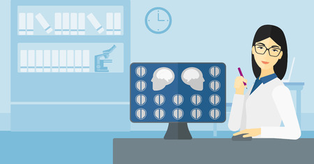 mri head: An asian doctor looking at results of MRI scan on a computer screen on the background of medical office vector flat design illustration. Horizontal layout.