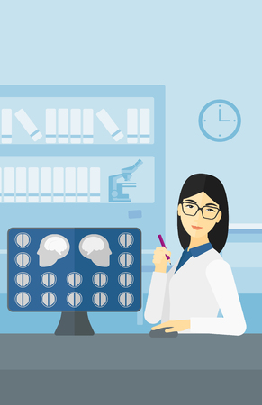 An asian doctor looking at results of MRI scan on a computer screen on the background of medical office vector flat design illustration. Vertical layout.