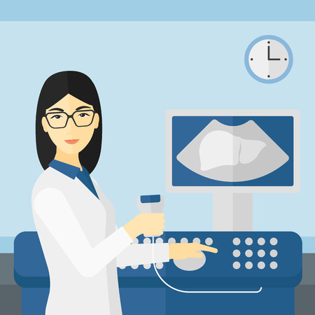 ultrasonic: An asian female ultrasound specialist with ultrasonic equipment on the background of medical office vector flat design illustration. Square layout.