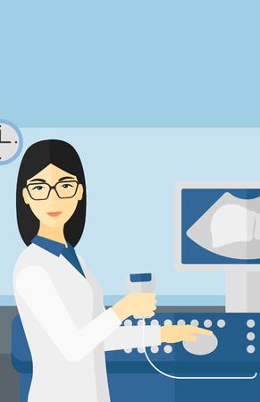 Un spécialiste femme asiatique à ultrasons avec des équipements à ultrasons sur le fond de vecteur de bureau médical design plat illustration. Présentation verticale. Vecteurs