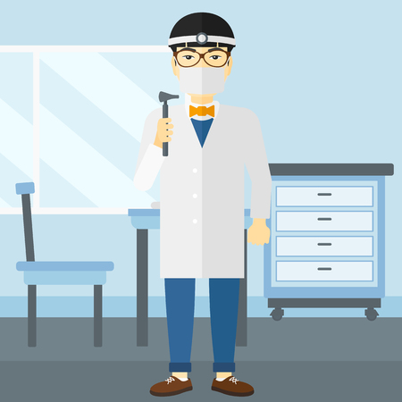 otolaryngologist: An asian doctor otolaryngologist on the background of medical office vector flat design illustration. Square layout.