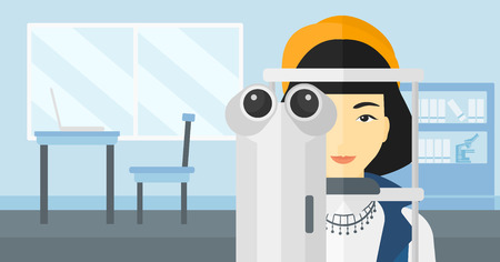 An asian woman during eye examon the background of medical office vector flat design illustration. Horizontal layout.