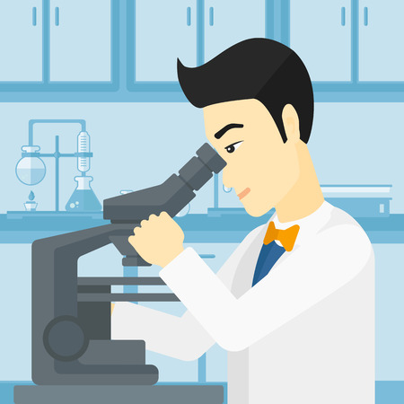 An asian man looking through a microscope on the background of laboratory vector flat design illustration. Square layout. Illustration