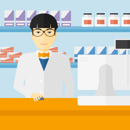 druggist: An asian man at the counter in a pharmacy opposite the shelves with medicines vector flat design illustration. Square layout.