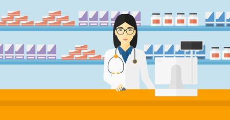 druggist: An asian woman at the counter in a pharmacy opposite the shelves with medicines vector flat design illustration. Horizontal layout.