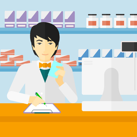 taking notes: An asian man holding a prescription in a hand and taking notes in a pharmacy opposite the shelves with medicines vector flat design illustration. Square layout.