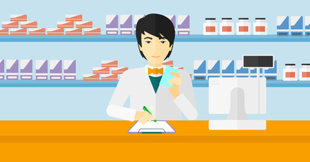 An asian man holding a prescription in a hand and taking notes in a pharmacy opposite the shelves with medicines vector flat design illustration. Horizontal layout. Иллюстрация