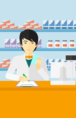druggist: An asian man holding a prescription in a hand and taking notes in a pharmacy opposite the shelves with medicines vector flat design illustration. Vertical layout.