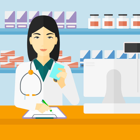 druggist: An asian woman holding a prescription in a hand and taking notes in a pharmacy opposite the shelves with medicines vector flat design illustration. Square layout.