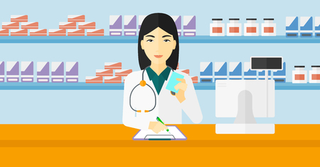 An asian woman holding a prescription in a hand and taking notes in a pharmacy opposite the shelves with medicines vector flat design illustration. Hoizontal layout. Vectores