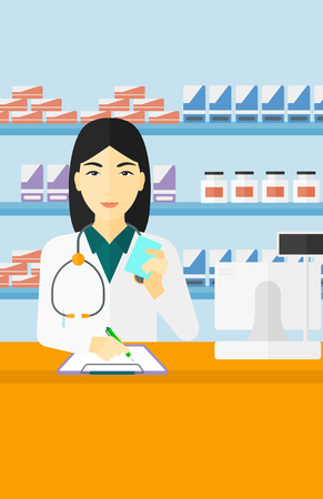 taking notes: An asian woman holding a prescription in a hand and taking notes in a pharmacy opposite the shelves with medicines vector flat design illustration. Vertical layout. Illustration