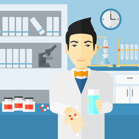 druggist: An asian man holding in hands a glass of water and some pills on the background of laboratory vector flat design illustration. Square layout.