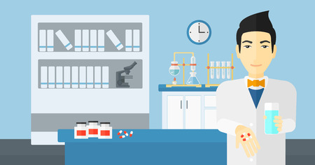 druggist: An asian man holding in hands a glass of water and some pills on the background of laboratory vector flat design illustration. Horizontal layout.