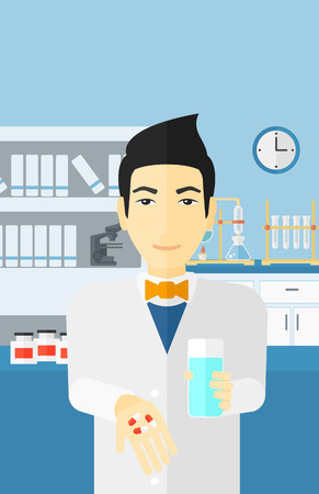 druggist: An asian man holding in hands a glass of water and some pills on the background of laboratory vector flat design illustration. Vertical layout.