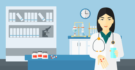 asian woman: An asian woman holding in hands a glass of water and some pills on the background of laboratory vector flat design illustration. Horizontal layout.