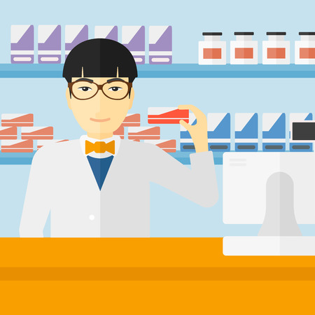 An asian man showing some medicine on a pharmacy background vector flat design illustration. Square layout. Çizim