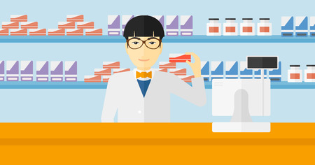 druggist: An asian man showing some medicine on a pharmacy background vector flat design illustration. Horizontal layout.