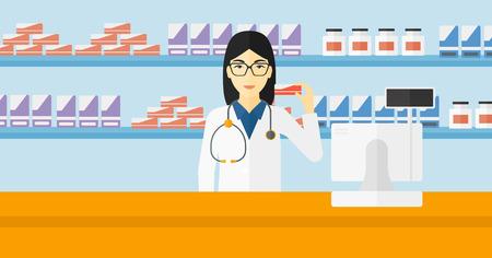 Une femme asiatique montrant un médicament sur une pharmacie vecteur de fond design plat illustration. Présentation horizontale.