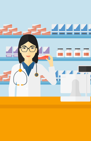 dispensary: An asian woman showing some medicine on a pharmacy background vector flat design illustration. Vertical layout. Illustration