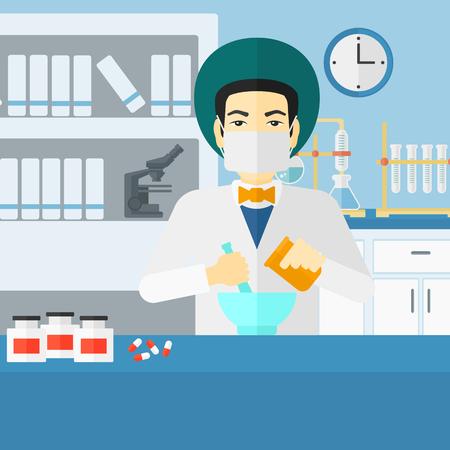 druggist: An asian man preparing medicine on the background of laboratory vector flat design illustration. Square layout. Illustration