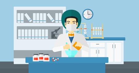 druggist: An asian man preparing medicine on the background of laboratory vector flat design illustration. Horizontal layout.