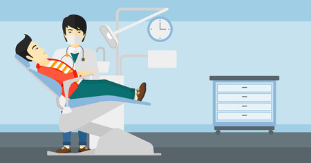 dentist cartoon: An asian dentist and man in dentist chair in exam room vector flat design illustration. Horizontal layout.