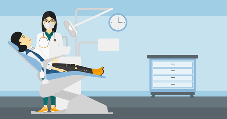 exam room: An asian dentist and woman in dentist chair in exam room vector flat design illustration. Horizontal layout. Illustration