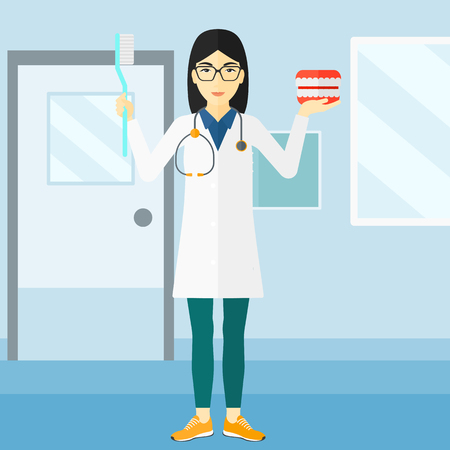 polyclinic: An asian  woman with a dental jaw model and a toothbrush on a polyclinic background vector flat design illustration. Square layout.
