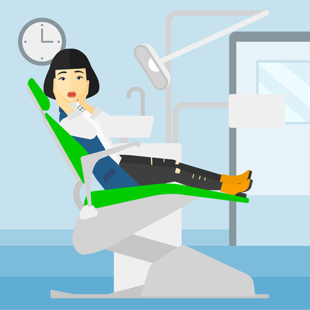 frightful: An asian frightened woman sitting in chair in dental office vector flat design illustration. Square layout.
