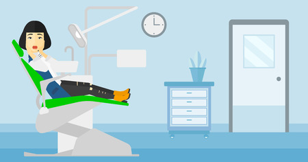 frightful: An asian frightened woman sitting in chair in dental office vector flat design illustration. Horizontal layout. Illustration