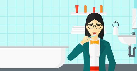 アジアの女性の浴室ベクトル フラット デザイン イラストの歯ブラシで歯を磨いたりします。水平方向のレイアウト。